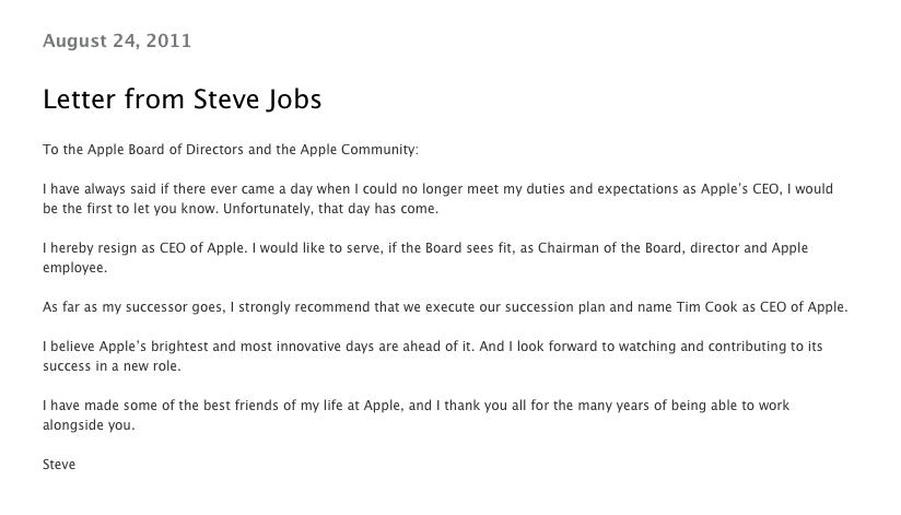 Steve jobs avgår - brevet